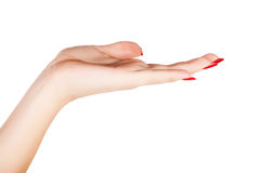 Woman hand with red nails manicure Royalty Free Stock Image