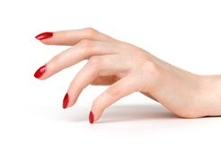 Woman hand with red nails side view Royalty Free Stock Photos