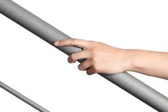 Woman hand resting on a railing stock images