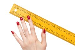 Woman hand with ruler Royalty Free Stock Photos