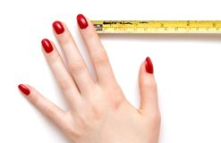 Woman hand with ruler Stock Images