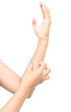 Woman hand scratching on white background Royalty Free Stock Images
