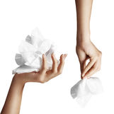 The woman hand set with makeup remove wipes Stock Photos