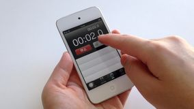 Woman hand setting stopwatch stock footage