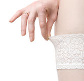 Woman hand and white stockings stock images