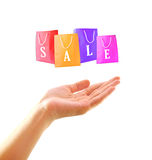 Woman hand with shopping bag on sale Royalty Free Stock Images