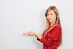 Woman with hand show blank Royalty Free Stock Photography