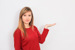 Woman with hand show blank Royalty Free Stock Image