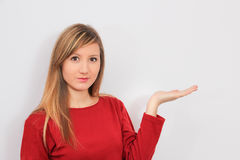 Woman with hand show blank Stock Image