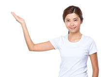 Woman with hand show with blank space Royalty Free Stock Photography