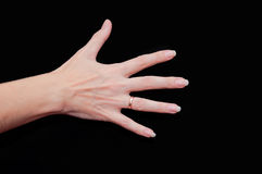 Woman hand showing five fingers Royalty Free Stock Photo