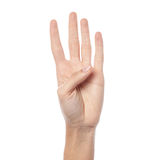 Woman hand showing four count royalty free stock photo