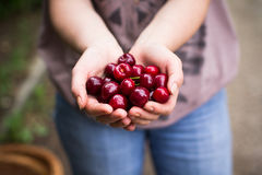 Woman showing cherry Royalty Free Stock Photo