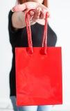 Woman hand showing shopping bag Stock Image