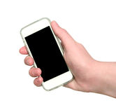Woman hand showing smart phone with isolated screen Stock Photography