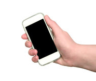 Woman hand showing smart phone Stock Images