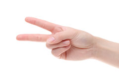 Woman hand shows victory gesture Royalty Free Stock Photos