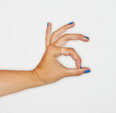 Woman hand sign. Isolated white Royalty Free Stock Photos