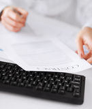 Woman hand signing contract paper Royalty Free Stock Photography