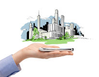 Woman hand with smartphone and city sketch Stock Image