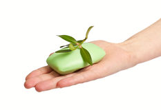 Woman hand with soap Royalty Free Stock Images