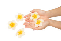 Woman hand with spa candle Stock Photo