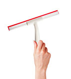 Woman hand with special squeegee for cleaning isolated on white Stock Photography