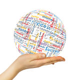 Woman hand sphere with business words Stock Photo