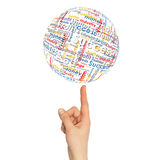 Woman hand sphere with business words Royalty Free Stock Images