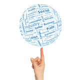 Woman hand sphere with business words Stock Photography