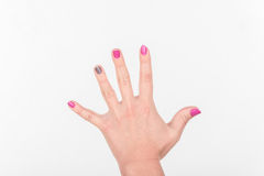 Woman Hand with Spread Polish Fingers on White Background. Royalty Free Stock Images
