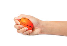Woman hand squeezing a stress ball Stock Image