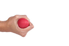 Woman hand squeezing a stress ball Stock Photo