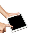 Woman hand on tablet pc, access for knowledge. Connect to people, isolate on white background Royalty Free Stock Image