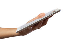 Woman hand on tablet pc, access for knowledge Royalty Free Stock Image
