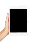 Woman hand on tablet pc, access for knowledge. Isolate on white background Royalty Free Stock Images