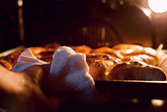 Woman hand taken out apple pies from the oven Stock Photo