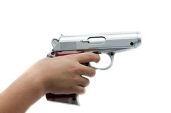 Woman hand taking gun waiting to shoot each other Stock Photo