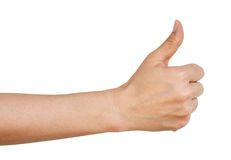 Woman hand with thumb up Stock Photos