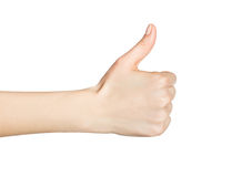 Woman hand with thumb up isolated Stock Images
