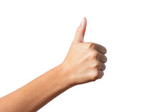 Woman hand with thumb up Royalty Free Stock Image