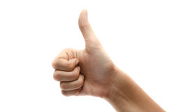 Woman hand thumps up on white background Royalty Free Stock Image