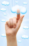 Woman hand touch the cloud Royalty Free Stock Photography