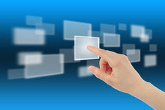 Woman hand with touch screen device Royalty Free Stock Photo