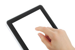 Woman hand with touch screen device Stock Images