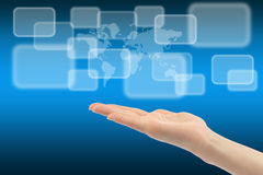 Woman hand with touch screen interface Stock Images