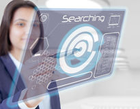 Woman hand touch searching. Young Woman hand touch screen searching stock photography