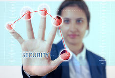 Woman hand touch security. Woman hand and touch security screen Royalty Free Stock Photography