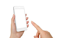 Woman hand touch smart phone with isolated blank screen for mockup Stock Photography