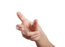 Woman hand touching virtual screen Royalty Free Stock Photo
